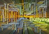 stock photo of school bullying  - Background concept wordcloud illustration of bullying glowing light - JPG