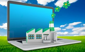 stock photo of environmentally friendly  - Environmentally friendly factory concept. Green factory on the laptop. Concept: the importance of digitalizing in the infrastructures considering also the environmental sustainability. - JPG