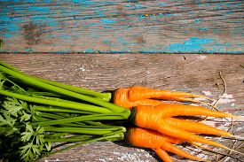 image of dangling a carrot  - Wet fresh carrots with leaves on the wooden background - JPG