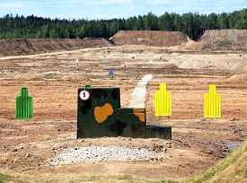 stock photo of shooting-range  - Targets for shooting from small arms at the shooting range