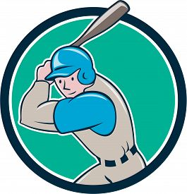 pic of bat  - Illustration of an american baseball player batter hitter with bat batting set inside circle done in cartoon style isolated on background - JPG