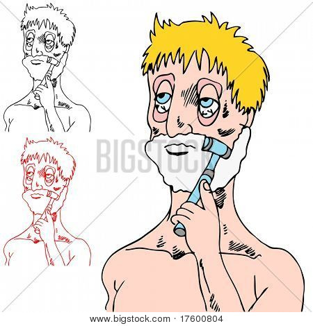 An image of a tired man shaving his face.