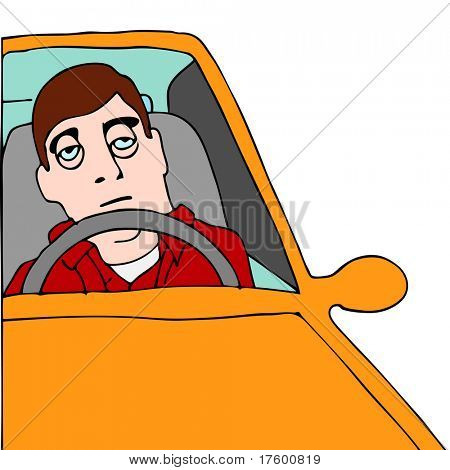 An image of a tired man sitting in traffic.