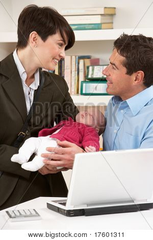 Working Mother Leaving Baby With Father Who Works From Home