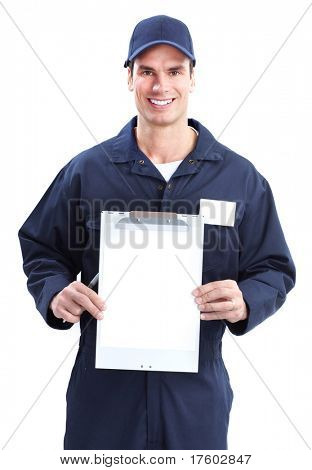 Handsome worker with a tablet. Professional service.