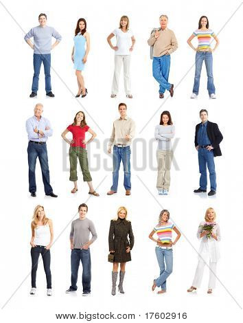 Large group of people. Isolated over white background.