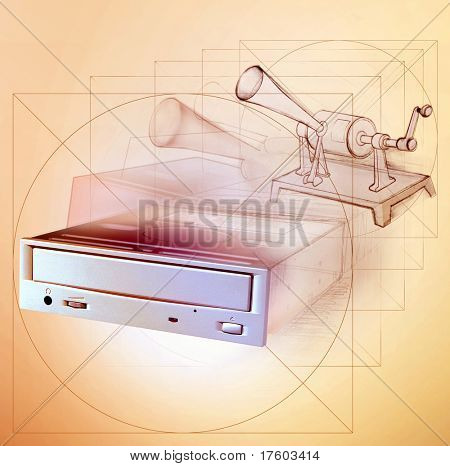sketch of dvd recorder that reincarnation to vintage recording device