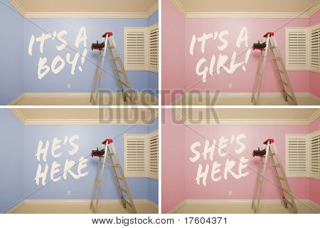 Maternity Series of Pink And Blue Empty Rooms with Ladder and Paint Supplies - XXXL.