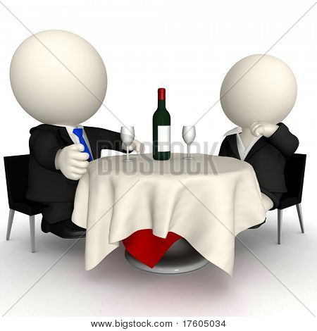 3D men in a business dinner - isolated over a white background