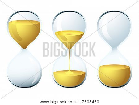 Glass egg timer with sand trickling for the perfect breakfast
