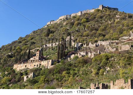 Castle of Vilearduin and fortified historical city of Mystras in Greece