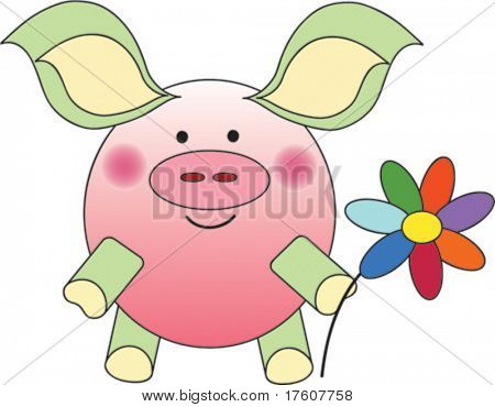 festive piglet with flower