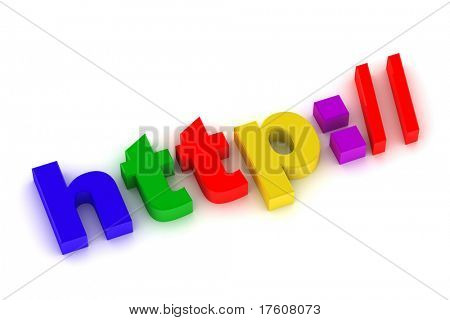 "3d illustration internet sign ""http://"" isolated on white"