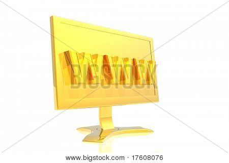 golden monitor and www sign isolated over white background