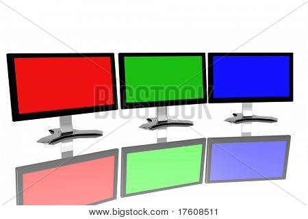 RGB monitors isolated over white background