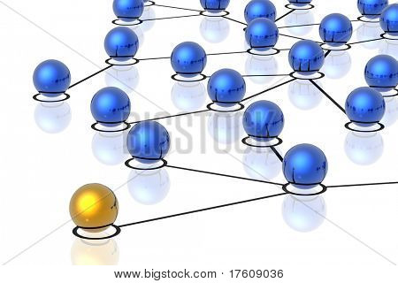 3d network connections isolated in white background