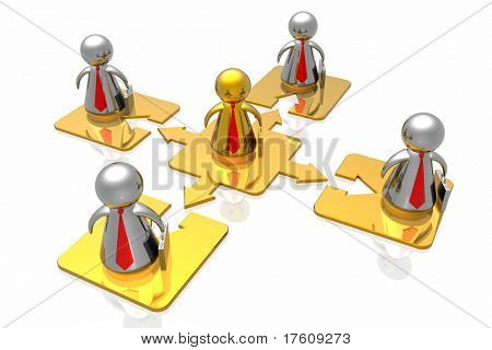 golden leader and business team isolated in white background