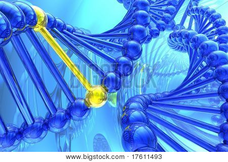 Golden nucleotide from a DNA isolated in white background