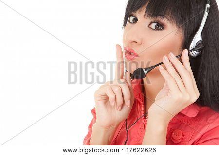 Fun woman-operator in earphones