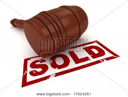 3D Illustration of a Gavel with Sold Under It
