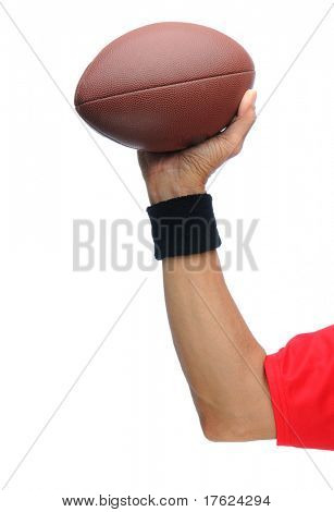 Quarterbacks arm with football drawn back and ready to throw a pass. Vertical Format isolated on a white background.