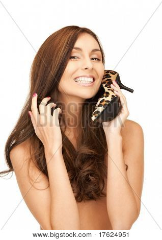 bright picture of lovely woman with leopard shoes