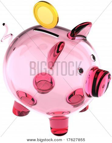 Glass piggy bank translucent
