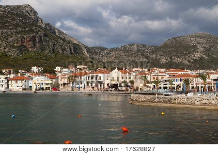 The traditional village and bay of Monemvasia at Greece