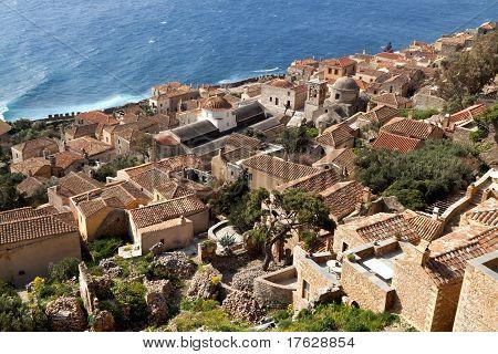 Traditional medieval era fortified village of Monemvasia at Greece