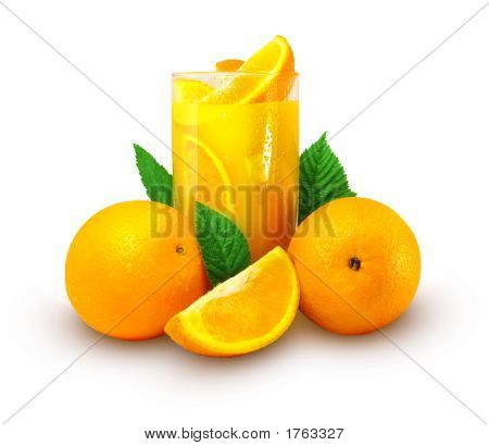 Orange Juice With Fruits Isolated
