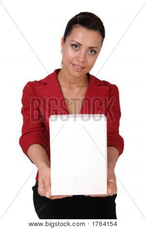 Businesswoman Holding A Software Box