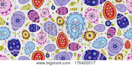 Stock vector seamless pattern Happy Easter background colored eggs, spring decoration, leave, tulip flower design element in flat style for printed material, postcard, greeting, festive card banner, flyer