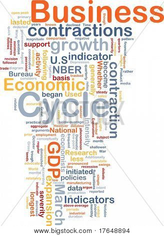 Background concept wordcloud illustration of economic business cycle