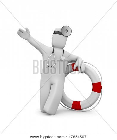 Medic with life buoy. Image contain clipping path