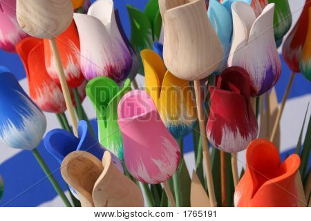Colorful Wooden Tulips