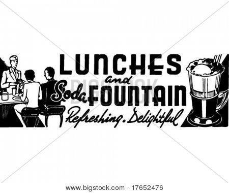 Lunches And Soda Fountain - Retro Ad Art Banner