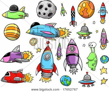 Outer Space Color Doodle notebook Elements Vector Illustration Set