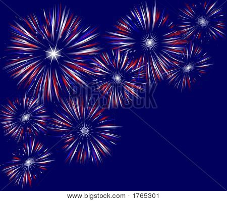 Fireworks Field On Blue