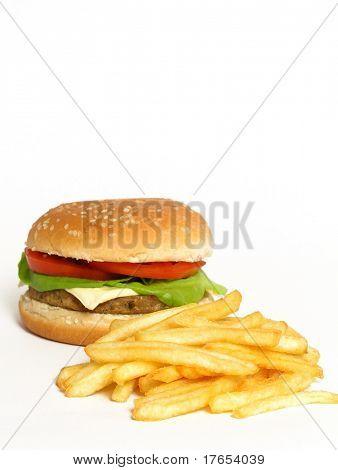 hamburguesas y papas fritas