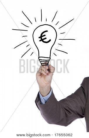 Businessman hand drawing and idea for making money on the whiteboard (selective focus)
