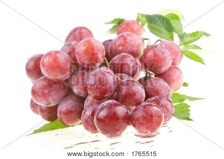 Wet Juicy Red Grapes