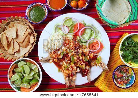 Guajillo chili shrimps Mexican dish chili sauces nachos  Mexico seafood