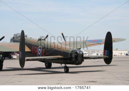 Vintage Lancaster Bomber On Runway