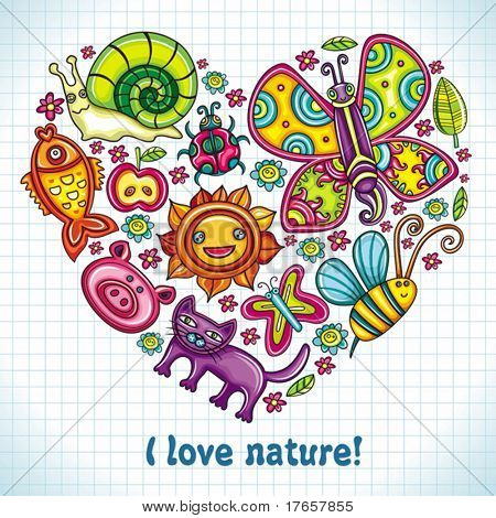 Flora and fauna theme heart. Cartoon set of colorful icons of animals, birds and plants. Doodle collection contains: leafs, , pigeon, bumblebee, , goldfish, ladybug, butterfly, kitten, apple