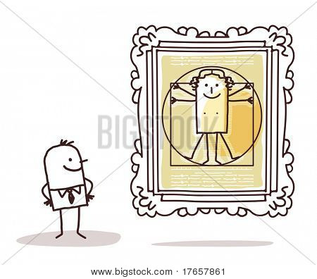 man watching the Vitruvian man