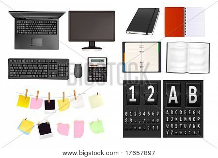 Business and office supplies and alphabet of black mechanical panel. Vector illustration.
