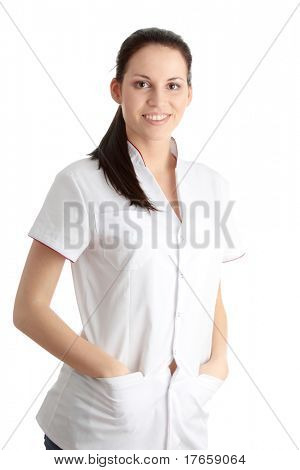 Young nurse or female doctor , isolated on white background