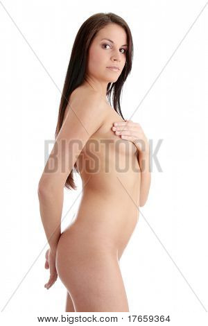Beautiful Nude Female Body Isolated On White Background