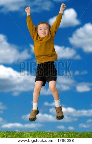 Young Attractive Boy Jumping
