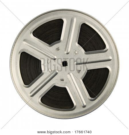 16 mm motion picture film reel, isolated on white background